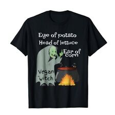 Funny Vegetarian Witch Vegan T-Shirt Large L Black New