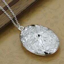 *UK* 925 SILVER PLT OPEN VICTORIAN FILIGREE OVAL PHOTO LOCKET PENDANT NECKLACE