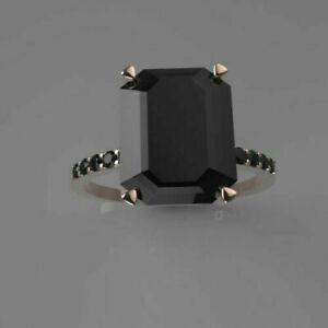 2.30Ct Emerald Cut Black Diamond Solitaire Engagement Ring 14K White Gold Finish