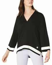 Tommy Hilfiger Womens Oversized Deep V-Neck Sweater X-Small Black
