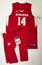 NEW Wisconsin Badgers Under Armour Authentic Basketball Uniform Men's Large NCAA