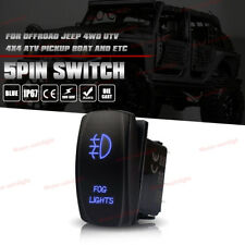 5-Pin Fog Lights Rocker Switch Laser Toggle Switch On-Off LED Light 20A 12V Blue