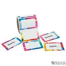 Roll of 100 Water Color Name Tags Badges Labels Stickers Kids Birthday Party