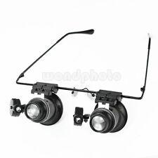 20X Eyeglasses Magnifier Jeweler Watch Repair Magnifying LED Light Loupe Lamp