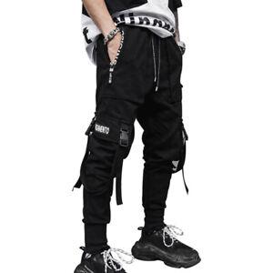 MFCT Black Streetwear Jogger Multi-Pocket Cargo Techwear Pants Men
