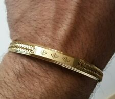 Gold Plated Laser Engraved Khandas Sikh Kaur Singh Khalsa Kara Bangle Kada D7