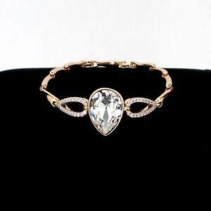 Fashion Elegant 18K Gold Plated Large White Crystals Bracelet Non-Alergic