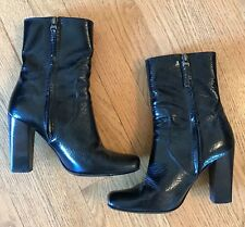 Fendi Black Leather Ankle Boots With Chunky Heel Size 37 1/2