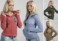 Ladies Womens Sweater Knitted Front Zip Cardigan Warm Turtle Neck Top size 10 12