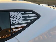 2016+ Camaro Side Window Flag Decal - Distressed Style (White)