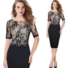 Womens Elegant Sexy Lace Party Cocktail Evening Mother of Bride Bodycon Dress