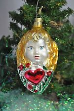 """Mercury Glass Angel Christmas Ornament With Hearts Roses 5 1/2"""" Long"""