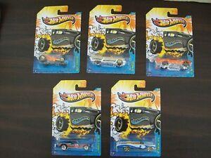 Hot Wheels Sunburnerz x5  Complete Set Mint NIP Chevy Pontiac MercuryChevelle SS