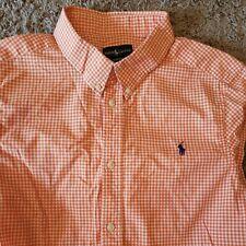 New listing Polo Ralph Lauren Orange White Pony Gingham Plaid Checker Shirt sz Xl (18 - 20)