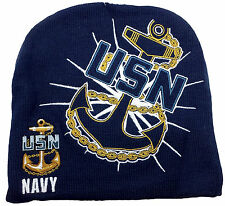 USN Navy Embroidered Knit Beanie Skull Cap Stocking Hat U.S. Navy