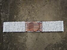 M - Wide White Beads Stretchy Belt womens with wooden buckle *FREE POST