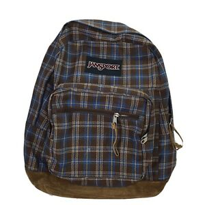 JANSPORT Leather Bottom Brown Blue Plaid Backpack Classic Originals