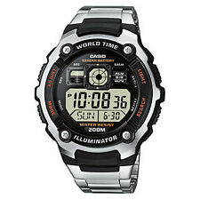 Casio Men's Digital World Time Calendar Back Light Stop Watch, Stainless Steel &