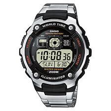 Casio Para Hombre Digital World Time Calendar Luz Trasera Stop Watch, Acero Inoxidable &