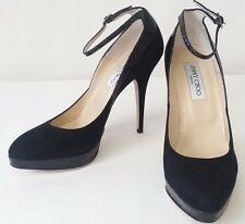 Jimmy Choo Suzanna Black Suede water-snake High heel Pumps strap ankle 8.5  $740