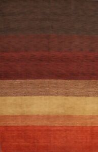 Striped Gabbeh Oriental Area Rug Hand-knotted Wool Living Room Carpet 7x10 ft