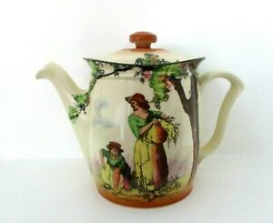 RARE ROYAL DOULTON SERIESWARE LARGE TEAPOT - THE GLEANERS D4983 - A/F