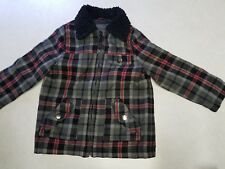 Cherokee Coat Jacket Full Zip Red Black Gray Plaid 5T Toddler unisex fur collar