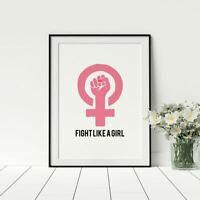 Fight Like A Girl Poster, Empowered Women, Female Symbol, Feminist Print