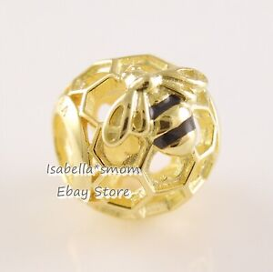 HONEYBEE Authentic PANDORA Yellow GOLD Plated Openwork Charm 767023EN16 NEW!