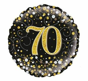 FANTASTIC COLOURFUL GOLD & BLACK 70TH BIRTHDAY 18 INCH HELIUM FOIL BALLOON