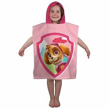 Hooded Poncho Beach Bath Towel Kids Children's Boys Girls Blue Pink 100 Cotton Paw Patrol Stars