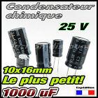 B25/1000# 4 à 40 pcs Condensateur chimique 1000µF 25v -10x16 - capacitor 1000uf