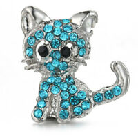 10pcs Cat Crystal Chunk Charm Snap Button Fit 18mm Drill Noosa Jewelry N977