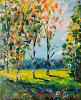 Birches Sunny Meadows Oil Painting Impressionism LANDSCAPE Texture Collectable