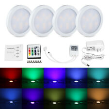4PCS RGB LED Kitchen Counter Under Cabinet Puck Lights Lighting Kit with Remote