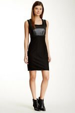 Ro & De Sleeveless Lace & Faux Leather Sheath Dress Sleeveless Size Small