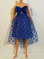 MATTEL METALLIC BLUE ORGANZA PARTY DRESS BARBIE FASHIONISTAS FASHION CLOTHES