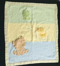 Carters Baby Blanket Duck Frog Bear Double Sided Green Yellow Infant Neutral
