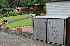 2er Mülltonnenhaus Edelstahl für 240 Liter Tonnen mit Klappdach Müllhäuschen