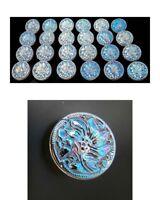 """24 Czech Crystal Glass Buttons #B378 - 14 mm or 1/2"""" - IRIDESCENT!!!!!!!!!!!!!!!"""