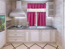 3PC (K3) SOLID FAUX LINED KITCHEN WINDOW CURTAIN 2 TIERS + 1 SWAG VALANCE SET NE