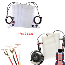2 Seats 4 pad Round Switch Carbon Fiber Car Seat Heater Heated Pad Kits 12V