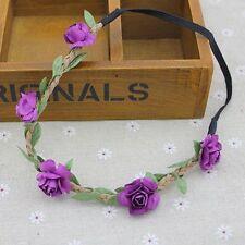 Fashion Floral Flower Rose Party Wedding Hair Wreaths Headband Hair Band Purple