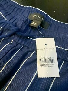 ANN TAYLOR STRIPPED JOGGER PANTS IN SIZE LARGE BNWT