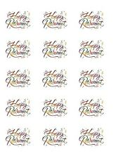 """15 x 2"""" Pre-cut icing Happy Retirement cupcake toppers,peel & easy to use"""