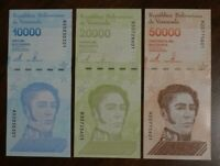 3 Venezuela banknotes-1 x 10000/20000/50000 Bolivares 2019 issue / Uncirculated