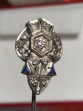 Victorian Pin 14K White Gold 11 Diamonds 2 Sapphires.-A617