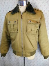 Vintage 70s Khaki Green Zip Up Cotton Bomber Melbourne Jacket Fake Fur Collar M