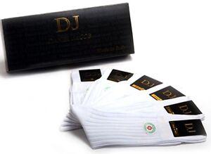 6 Pair Men's White Mid-Calf Diabetic Socks 100% Cotton Striped Design Gift Box