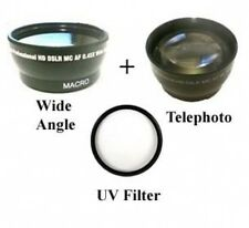 46mm Wide Lens + Telephoto+UV Filter BUNDLE for JVC GY-HM100 GY-HM100U GY-HM100E